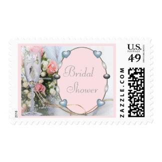 Bridal Shower Bride & Groom, Doves & Glass Floral Postage