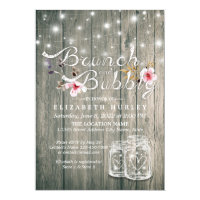 Bridal Shower Brunch Bubbly Rustic Wood Mason Jar Invitation