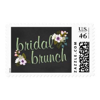 Bridal Shower Brunch Floral Chalkboard Postage Stamps