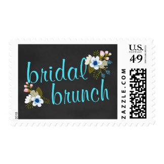 Bridal Shower Brunch Floral Chalkboard Postage Stamp