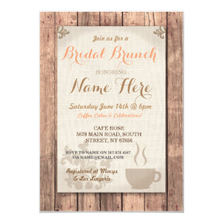Bridal Shower Brunch Friends Coffee Rustic Invite
