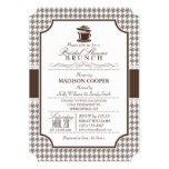 Bridal Shower Brunch; Taupe Houndstooth 5x7 Paper Invitation Card