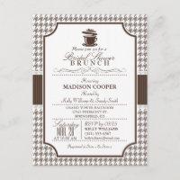 Bridal Shower Brunch; Taupe Houndstooth Invite