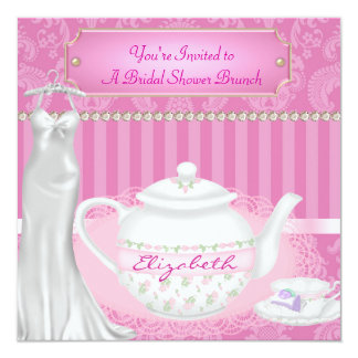 Bridal Shower  Brunch Teapot & Teacup Damask Card