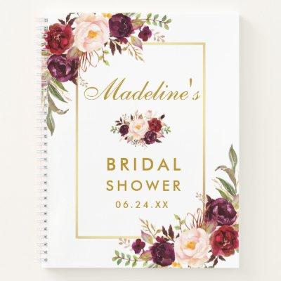 Bridal Shower Burgundy Floral Gold Gift List Notebook