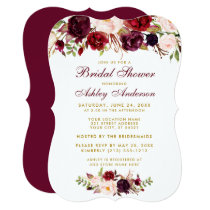 Bridal Shower Burgundy Floral Gold Invitation BR