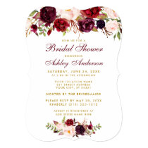 Bridal Shower Burgundy Floral Gold Invitation BWR