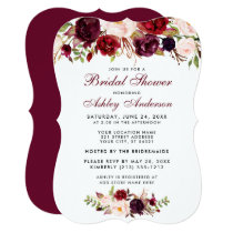 Bridal Shower Burgundy Floral Invitation BR