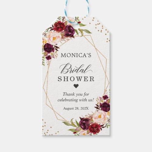 Bridal Shower Burgundy Red Floral Gold Frame Gift Tags