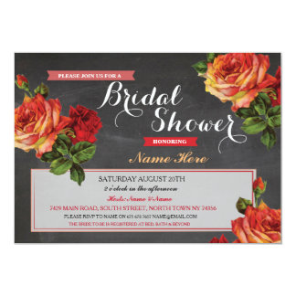 Bridal Shower Burlap Red Roses Chalk Invitation