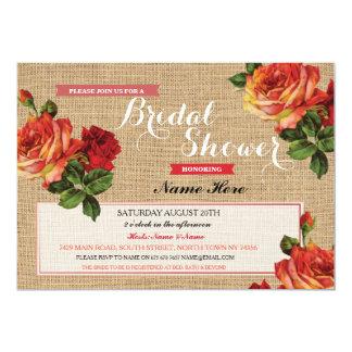Bridal Shower Burlap Red Roses Floral Invitation