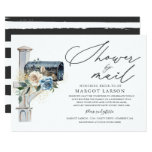 Bridal Shower By Mail Invitation Blue White Floral