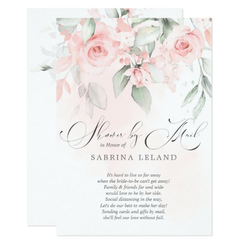 Bridal Shower by Mail Vintage Blush Pink Roses Invitation