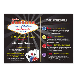 Bridal Shower Casino Vegas Itinerary Bachelorette Card