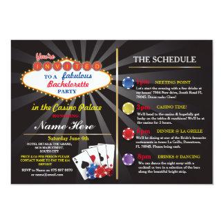 Bridal Shower Casino Vegas Itinerary Bachelorette Invitation