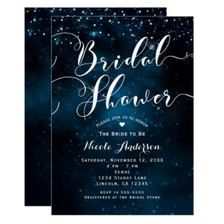 BRIDAL SHOWER Celestial Starry Blue Skies Wedding Card