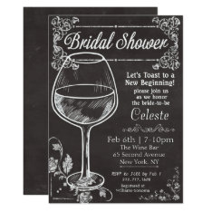 Bridal Shower Chalk Chalkboard Wine Invitation at Zazzle