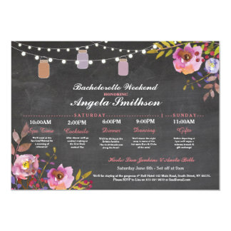 Bridal Shower Chalk Coral Itinerary Bachelorette Card