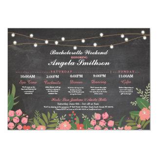 Bridal Shower Chalk Coral Itinerary Bachelorette Invitation