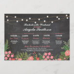 """Bridal Shower Chalk Coral Itinerary Bachelorette Program<br><div class=""""desc"""">Bachelorette Shower Itinerary - Front and back included. Change the schedule,  time,  text to suit your party!</div>"""