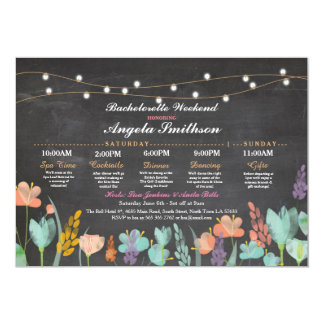 Bridal Shower Chalk Floral Itinerary Bachelorette Card