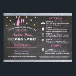 """Bridal Shower Chalk Itinerary Bachelorette Invite<br><div class=""""desc"""">Bachelorette Shower Itinerary - Front and back included. Change the schedule,  time,  text to suit your party!</div>"""