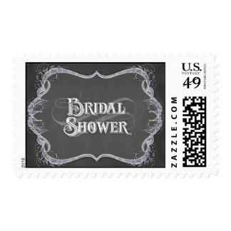Bridal Shower - Chalkboard Typographic Leaf Swirl Postage