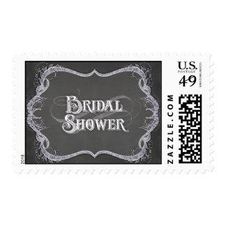 Bridal Shower - Chalkboard Typographic Leaf Swirl Postage Stamp