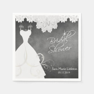 Bridal Shower Chalkboard with White Lace & Gown Paper Napkin