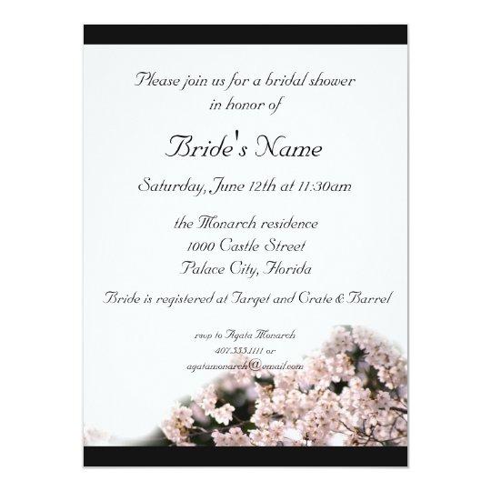Bridal Shower Cherry Blossom Theme Wedding Invitation Zazzle Com