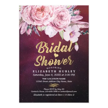 Wedding Themed Bridal Shower Chic Watercolor Boho Floral Feather Card