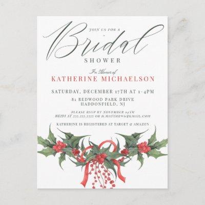 BRIDAL SHOWER | Christmas Watercolor Floral Postca Postcard