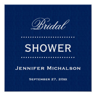 Bridal Shower Classic Blue and White A05 Poster