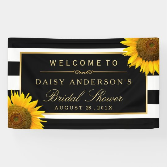 bridal shower classy sunflower black white stripes banner
