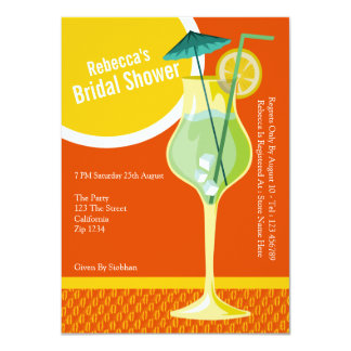 """Bridal Shower Cocktail Party 4.5"""" X 6.25"""" Invitation Card"""