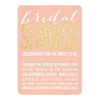 """Bridal Shower Coral Gold Glitter Typography 5"""" X 7"""" Invitation Card"""