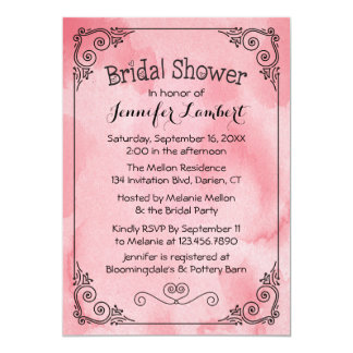 Bridal Shower Cotton Candy Pink Watercolor Heart Card
