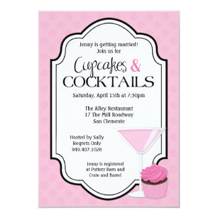 bridal shower cupcakes and cocktails invitation