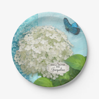 Bridal Shower Damask White Hydrangea Butterfly Art Paper Plate