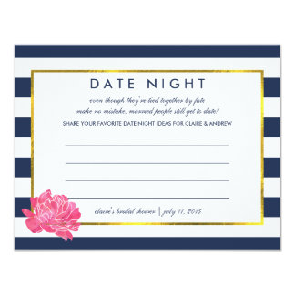 Bridal Shower Date Night Cards   Navy Stripe Peony