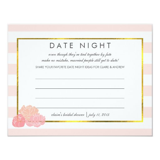 Bridal Shower Date Night Cards Pink Stripe Peony