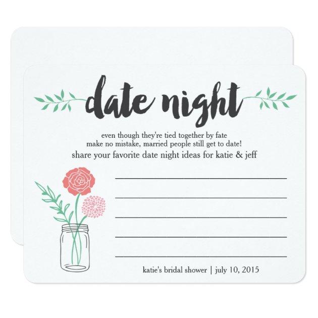 Bridal Shower Date Night Idea Card | Mason Jar | Zazzle