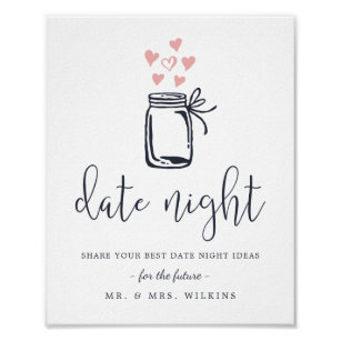 photo regarding Date Night Jar Printable named Day Night time Jar Posters Photograph Prints Zazzle