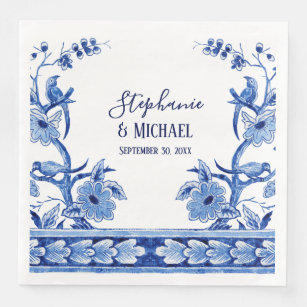 bridal shower decor indigo blue chinese floral art paper dinner napkin