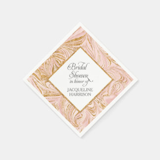 Bridal Shower Decor Rose Gold Faux Glitter Marble Paper Napkin