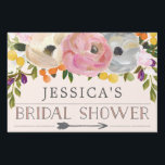 """Bridal Shower Directional Yard Sign Sweet Blooms<br><div class=""""desc"""">Lead the way with this lovely yard sign! Easily edit the name and event. Rotate the arrow as needed!</div>"""