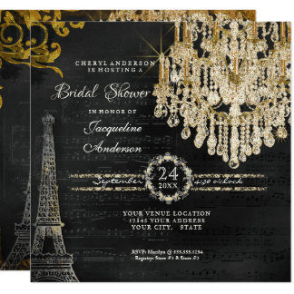 Bridal Shower Eiffel Tower Chandelier Typography Card