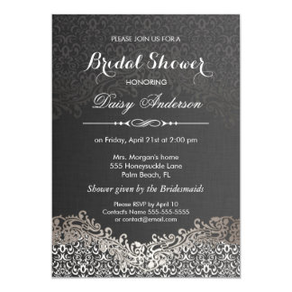 Bridal Shower - Elegant Black Silver Damask Card