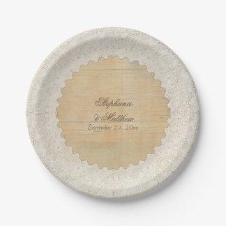 Bridal Shower Elegant Rustic Bohemian Lace n Wood Paper Plate