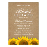Bridal Shower Elegant Rustic Sunflower Linen Kraft Card